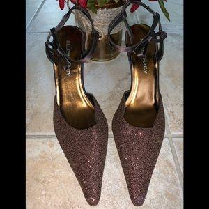 Brown Beaded Ellen Tracy Slingback heels 9.5